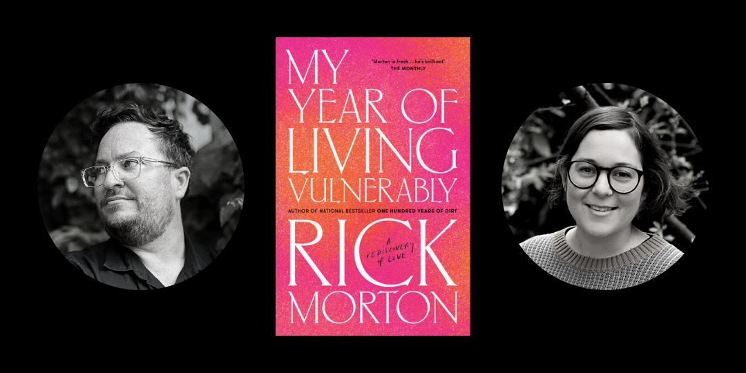 Image: The cover of Rick Morton's My Year of Living Vulnerably is in the centre of the picture. The cover is hot pink and orange, and stands out against the black background. On the left of the image is a photo of Rick Morton, a man in glasses with a short beard who is looking out of shot. On the right is a picture of Hayley Scrivenor, a woman with short, dark hair and glasses.